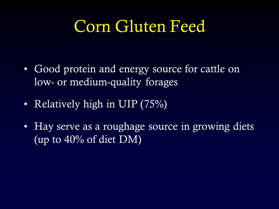 Corn Gluten Feed Good protein and energy source for cattle on low- or medium-quality forages Relatively high in UIP (75%) Hay serve as a roughage source in growing diets (up to 40% of diet DM)