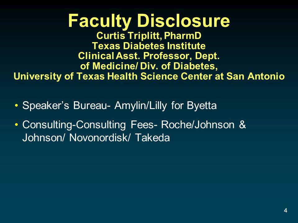 Faculty Disclosure Curtis Triplitt, PharmD Texas Diabetes Institute Clinical Asst. Professor, Dept. of Medicine/ Div. of Diabetes, University of Texas