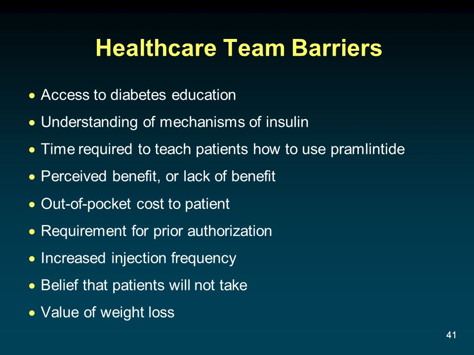 41 Healthcare Team Barriers Access to diabetes education Understanding of mechanisms of insulin Time required to teach patients how to use pramlintide Perceived benefit, or lack of benefit Out-of-pocket cost to patient Requirement for prior authorization Increased injection frequency Belief that patients will not take Value of weight loss
