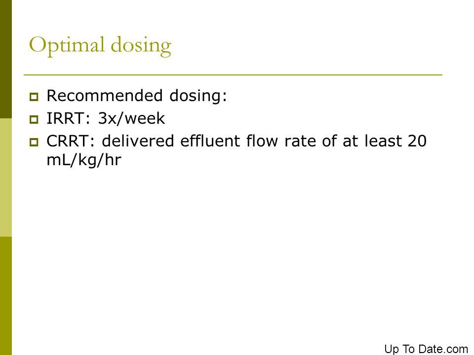 Optimal dosing Recommended dosing: IRRT: 3x/week CRRT: delivered effluent flow rate of at least 20 mL/kg/hr Up To Date.com