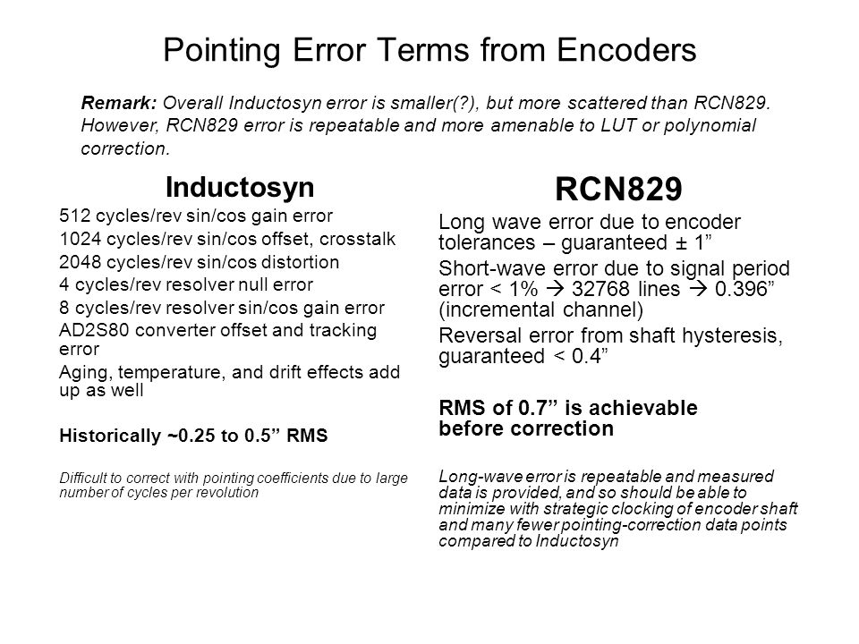Pointing Error Terms from Encoders Inductosyn 512 cycles/rev sin/cos gain error 1024 cycles/rev sin/cos offset, crosstalk 2048 cycles/rev sin/cos distortion 4 cycles/rev resolver null error 8 cycles/rev resolver sin/cos gain error AD2S80 converter offset and tracking error Aging, temperature, and drift effects add up as well Historically ~0.25 to 0.5 RMS Difficult to correct with pointing coefficients due to large number of cycles per revolution RCN829 Long wave error due to encoder tolerances – guaranteed ± 1 Short-wave error due to signal period error < 1% 32768 lines 0.396 (incremental channel) Reversal error from shaft hysteresis, guaranteed < 0.4 RMS of 0.7 is achievable before correction Long-wave error is repeatable and measured data is provided, and so should be able to minimize with strategic clocking of encoder shaft and many fewer pointing-correction data points compared to Inductosyn Remark: Overall Inductosyn error is smaller( ), but more scattered than RCN829.