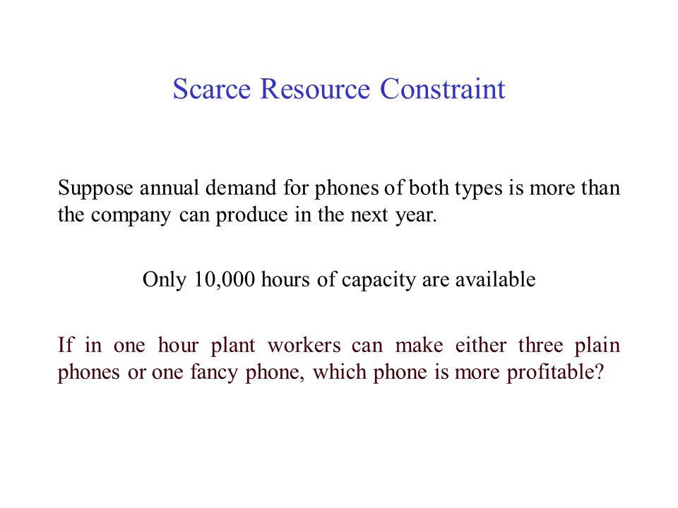 Scarce Resource Constraint PlainFancyPhone 1.Units per hour 3 1 2.