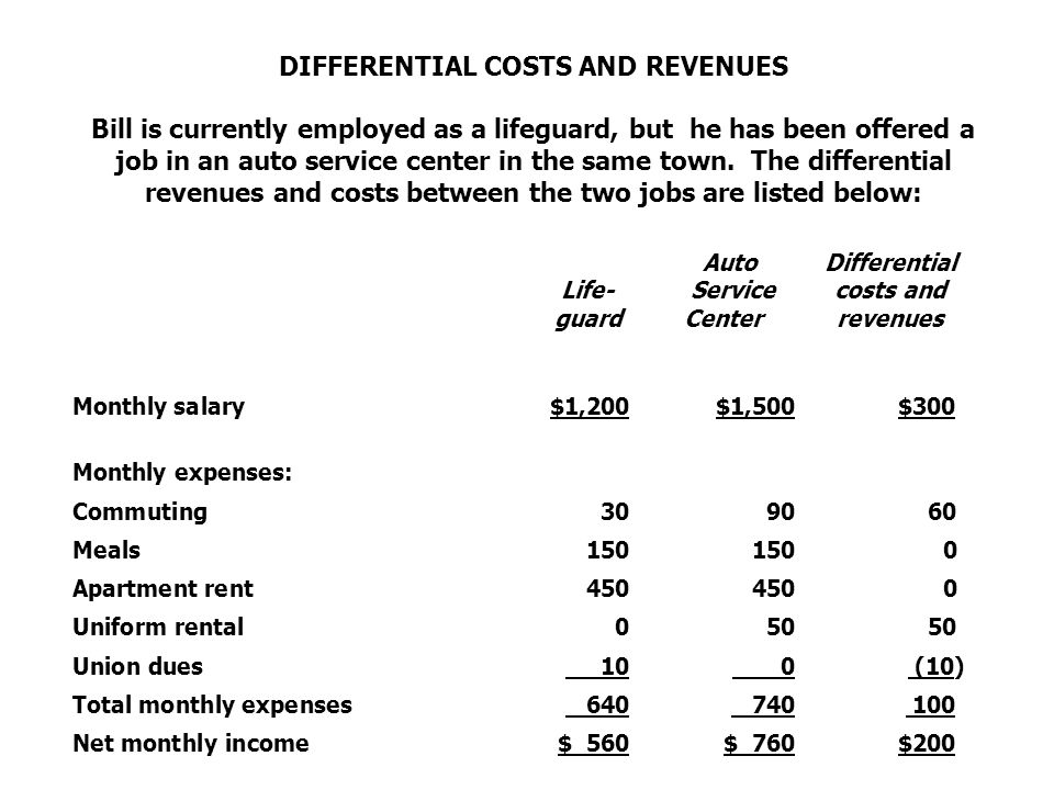 DIFFERENTIAL COSTS AND REVENUES Bill is currently employed as a lifeguard, but he has been offered a job in an auto service center in the same town. T