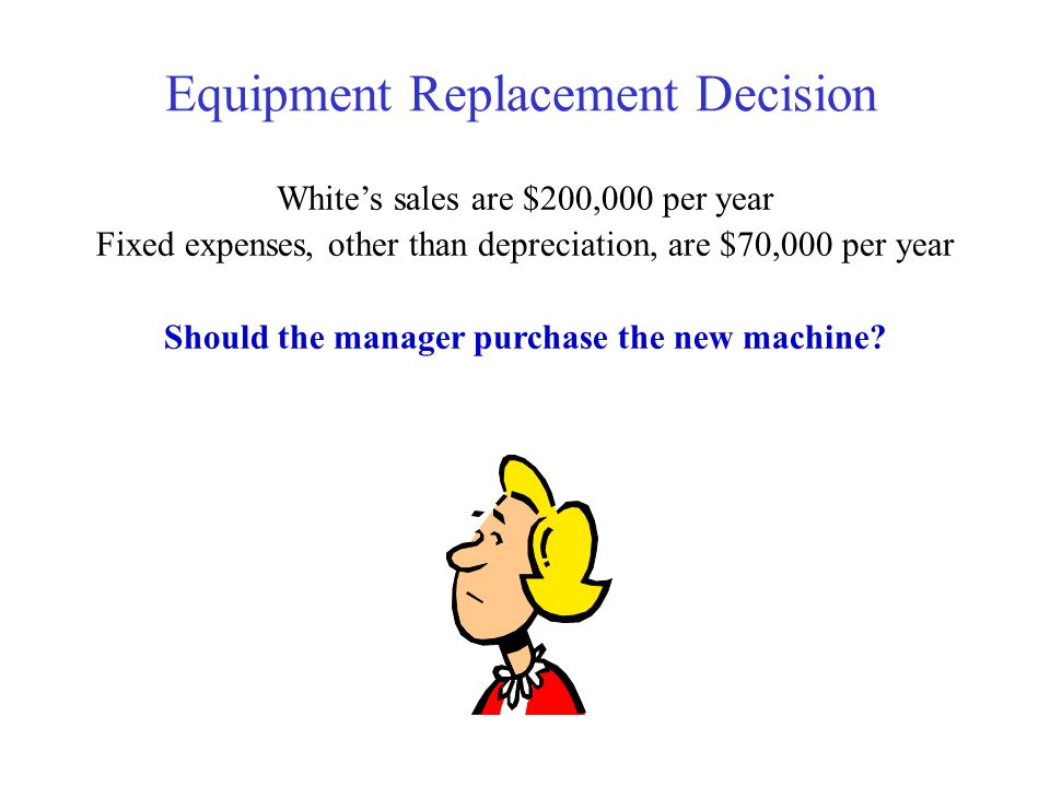Equipment Replacement Decision Whites sales are $200,000 per year Fixed expenses, other than depreciation, are $70,000 per year Should the manager pur