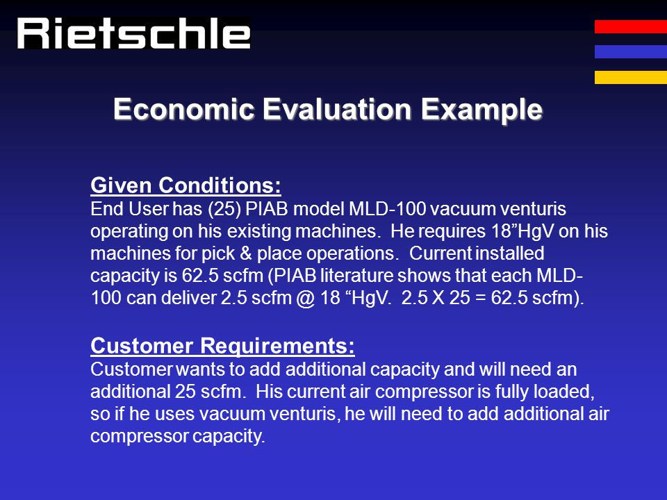 Economic Evaluation Example Given Conditions: End User has (25) PIAB model MLD-100 vacuum venturis operating on his existing machines. He requires 18H
