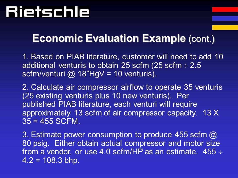 Economic Evaluation Example (cont.) 1. Based on PIAB literature, customer will need to add 10 additional venturis to obtain 25 scfm (25 scfm 2.5 scfm/