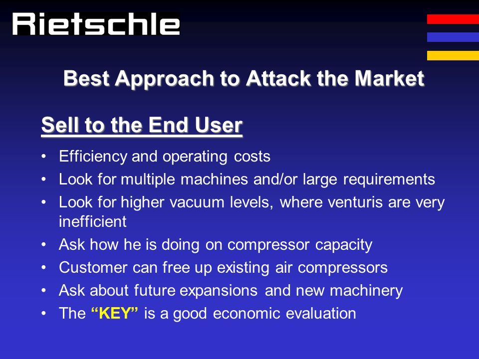 Best Approach to Attack the Market Efficiency and operating costs Look for multiple machines and/or large requirements Look for higher vacuum levels,