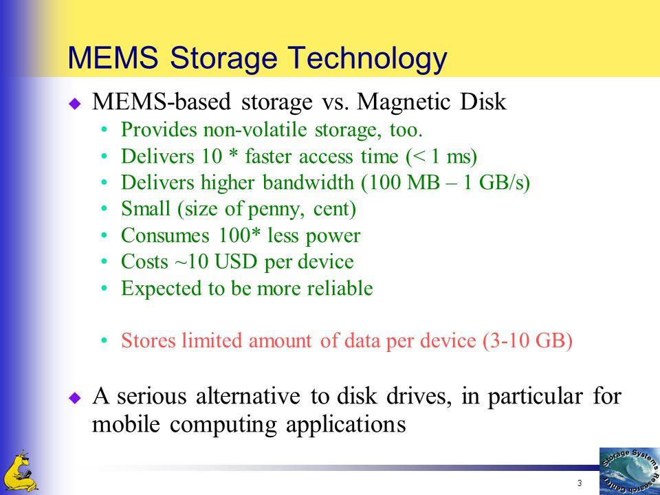 3 MEMS Storage Technology u MEMS-based storage vs. Magnetic Disk Provides non-volatile storage, too. Delivers 10 * faster access time (< 1 ms) Deliver