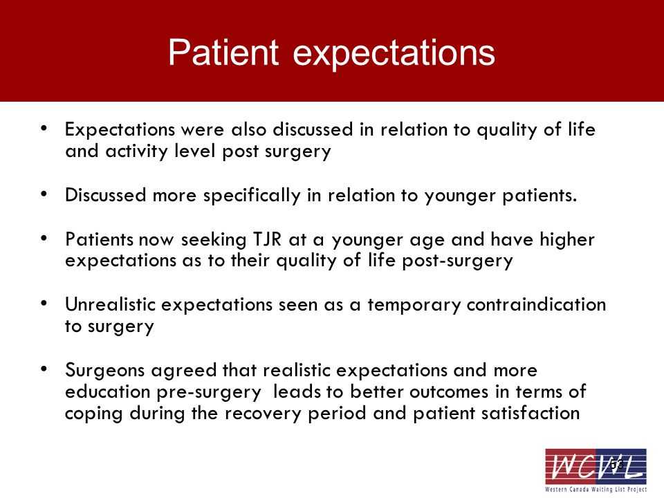 53 Patient expectations Expectations were also discussed in relation to quality of life and activity level post surgery Discussed more specifically in relation to younger patients.
