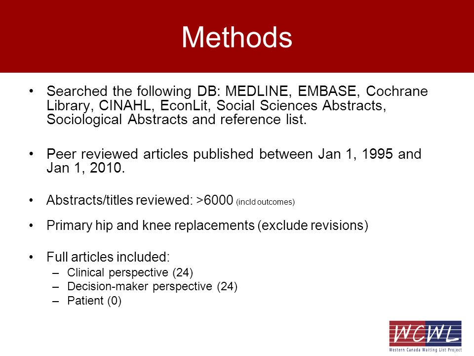 Methods Searched the following DB: MEDLINE, EMBASE, Cochrane Library, CINAHL, EconLit, Social Sciences Abstracts, Sociological Abstracts and reference list.