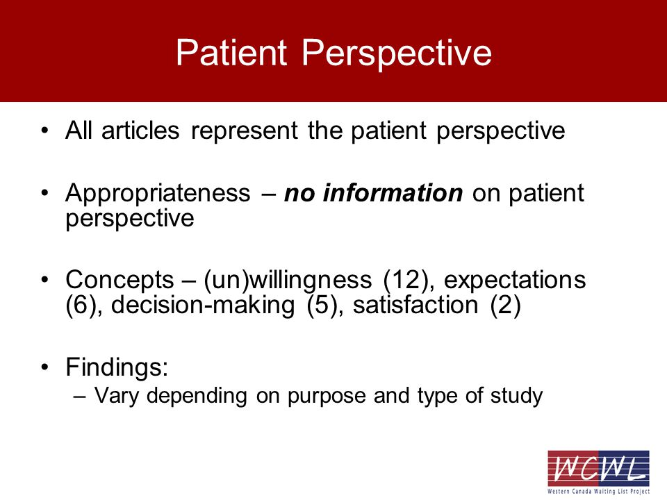 Patient Perspective All articles represent the patient perspective Appropriateness – no information on patient perspective Concepts – (un)willingness (12), expectations (6), decision-making (5), satisfaction (2) Findings: –Vary depending on purpose and type of study