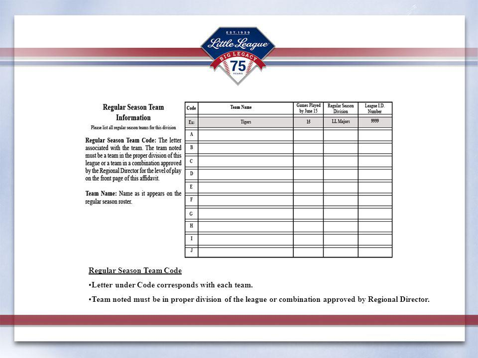 Regular Season Team Code Letter under Code corresponds with each team.
