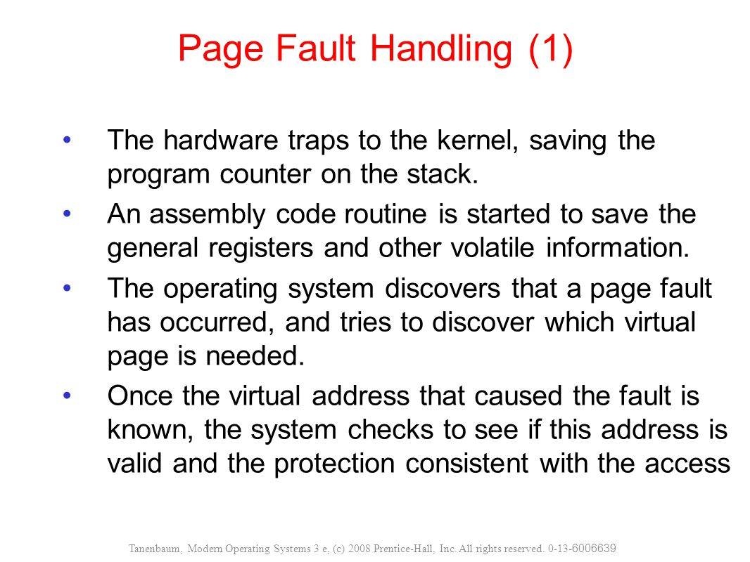 The hardware traps to the kernel, saving the program counter on the stack. An assembly code routine is started to save the general registers and other
