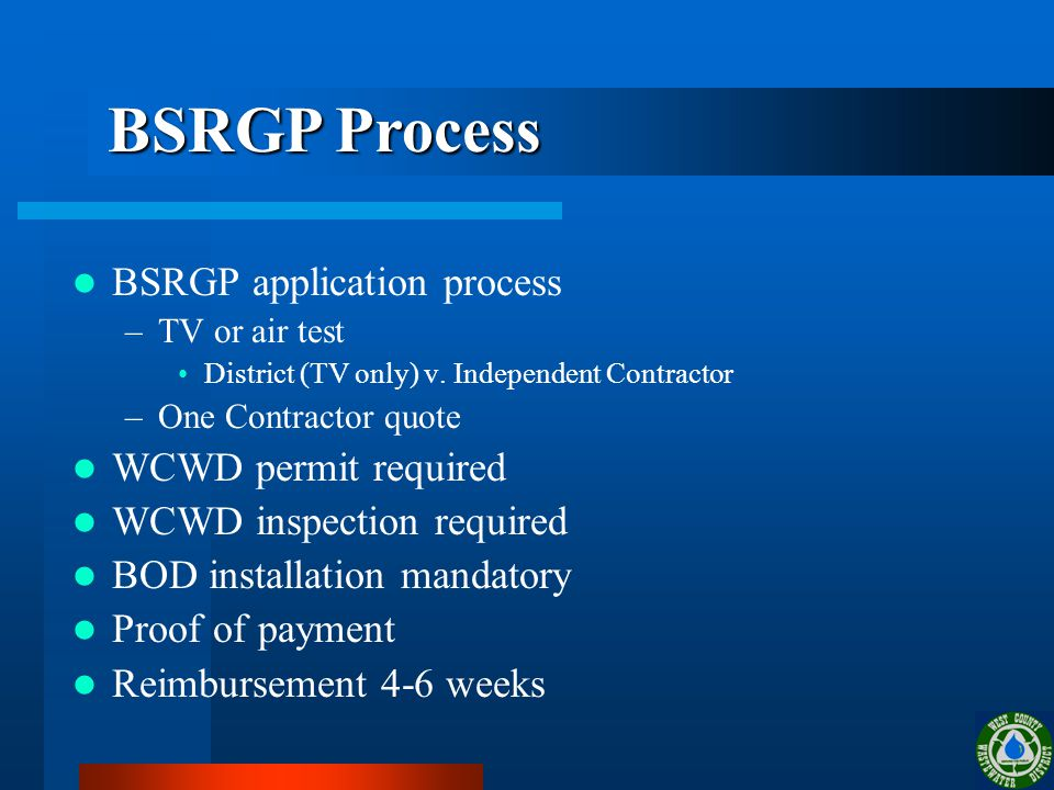 BSRGP application process –TV or air test District (TV only) v.