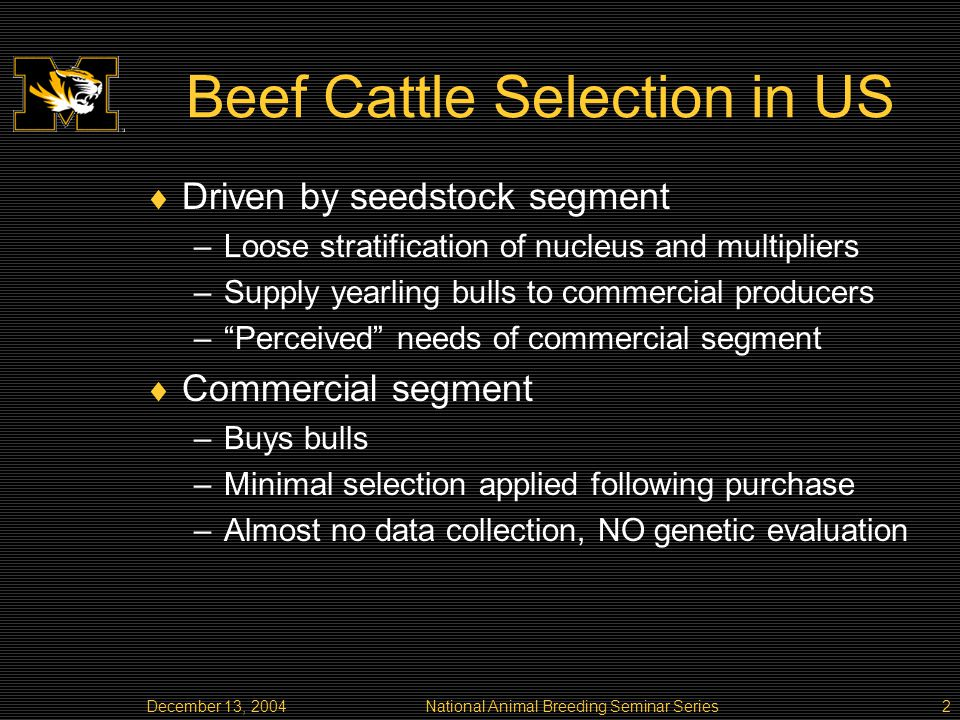 National Animal Breeding Seminar Series2 Beef Cattle Selection in US Driven by seedstock segment –Loose stratification of nucleus and multipliers –Supply yearling bulls to commercial producers –Perceived needs of commercial segment Commercial segment –Buys bulls –Minimal selection applied following purchase –Almost no data collection, NO genetic evaluation
