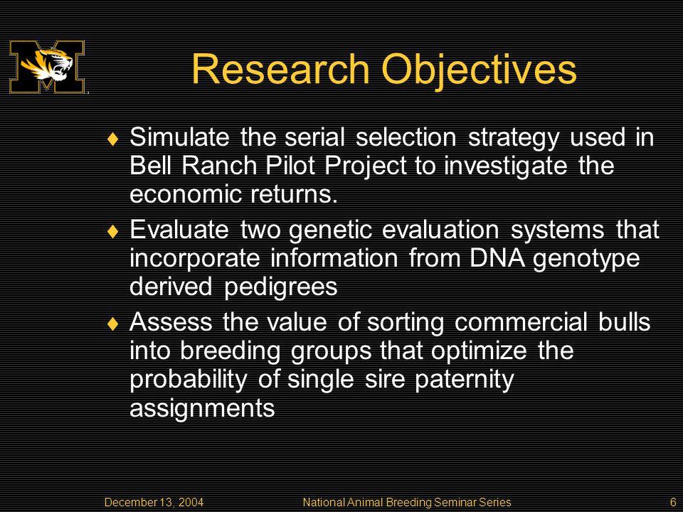 December 13, 2004National Animal Breeding Seminar Series27 Correlation of true progeny difference and estimated progeny difference (EPD) Average Z methodologyMonte Carlo Z methodology Progeny per sire Correlation6156 2 allelesr(u,u^true)0.48690.68030.48690.6803 r(u,u^sorted)0.39020.56640.30360.4583 r(u,u^random)0.37430.56150.28910.4438 4 allelesr(u,u^true)0.49590.68580.49590.6858 r(u,u^sorted)0.49260.68320.48950.6801 r(u,u^random)0.49010.68030.48560.6758 6 allelesr(u,u^true)0.50530.66840.50530.6684 r(u,u^sorted)0.50520.66820.50510.6681 r(u,u^random)0.50470.66930.50450.6690