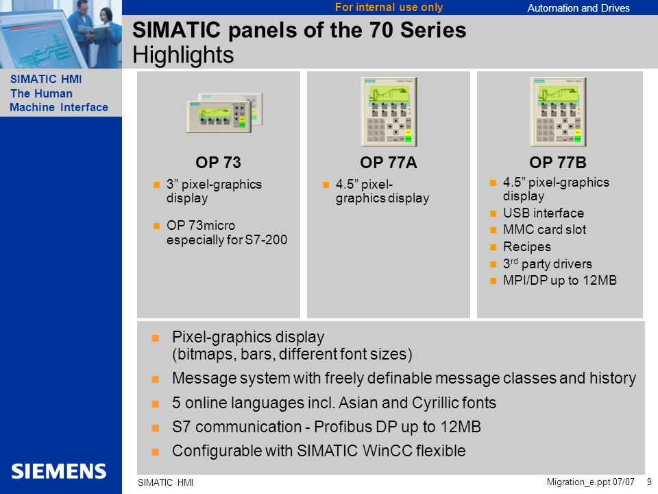 Automation and Drives SIMATIC HMI The Human Machine Interface Migration_e.ppt 07/07 9 For internal use only SIMATIC HMI SIMATIC panels of the 70 Series Highlights Pixel-graphics display (bitmaps, bars, different font sizes) Message system with freely definable message classes and history 5 online languages incl.