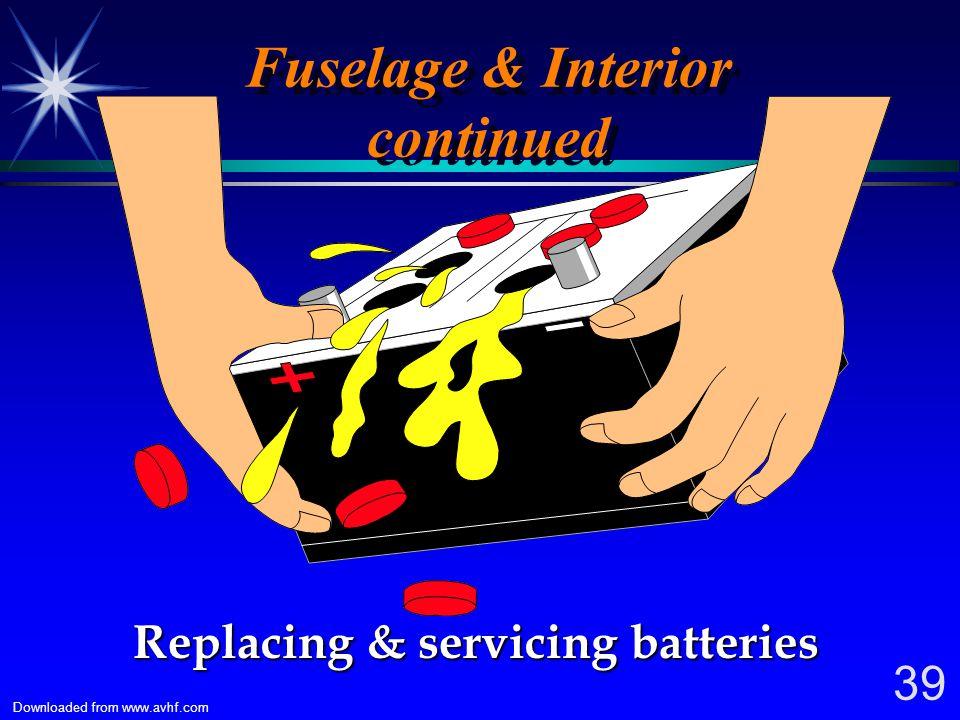 38 Downloaded from www.avhf.com Fuselage & Interior Replenishing hydraulic fluid Replenishing hydraulic fluid Replacing side windows ?? Replacing side