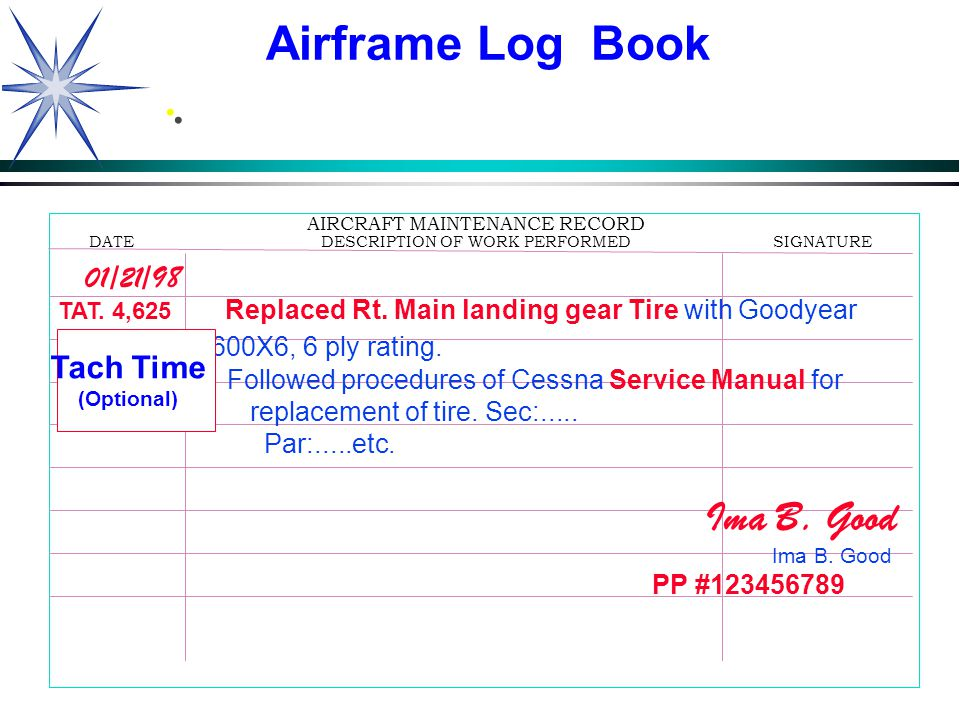 50 Downloaded from www.avhf.com.. AIRCRAFT MAINTENANCE RECORD DATEDESCRIPTION OF WORK PERFORMEDSIGNATURE