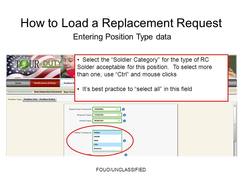 Select the Soldier Category for the type of RC Solder acceptable for this position. To select more than one, use Ctrl and mouse clicks Its best practi