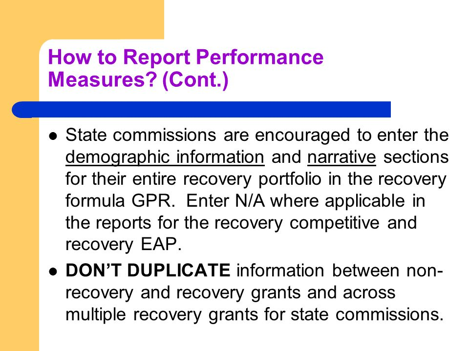 How to Report Performance Measures.