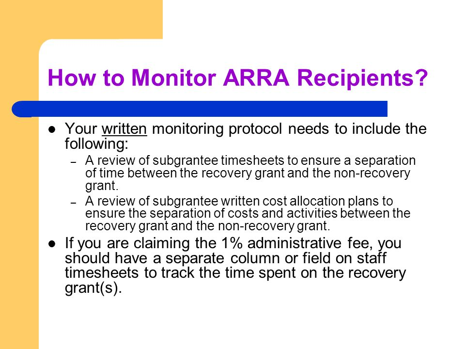 How to Monitor ARRA Recipients.