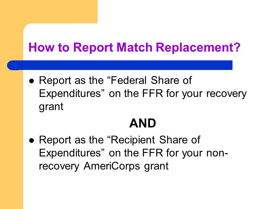 How to Report Match Replacement.
