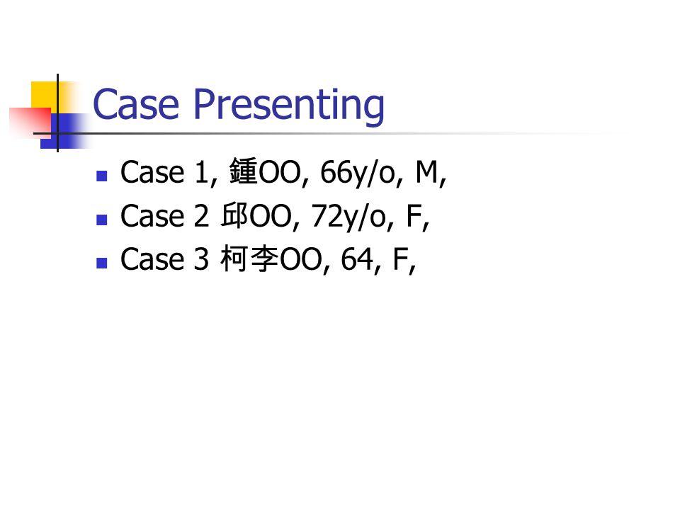 Case 1 OO 68 y/o, man.PH: 1.HTN, 2. DM, 3. PTCA in 93/2, 1-VD, 4.