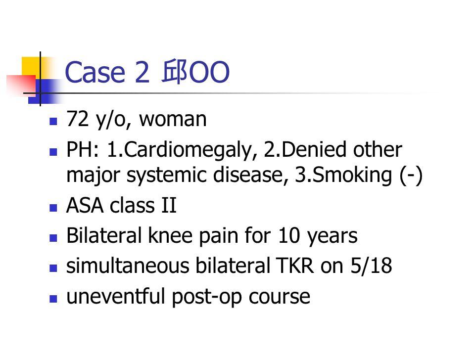 Case 3 OO 64 y/o, woman PH: 1.HTN(+) and DM (+) under medical control, 2.