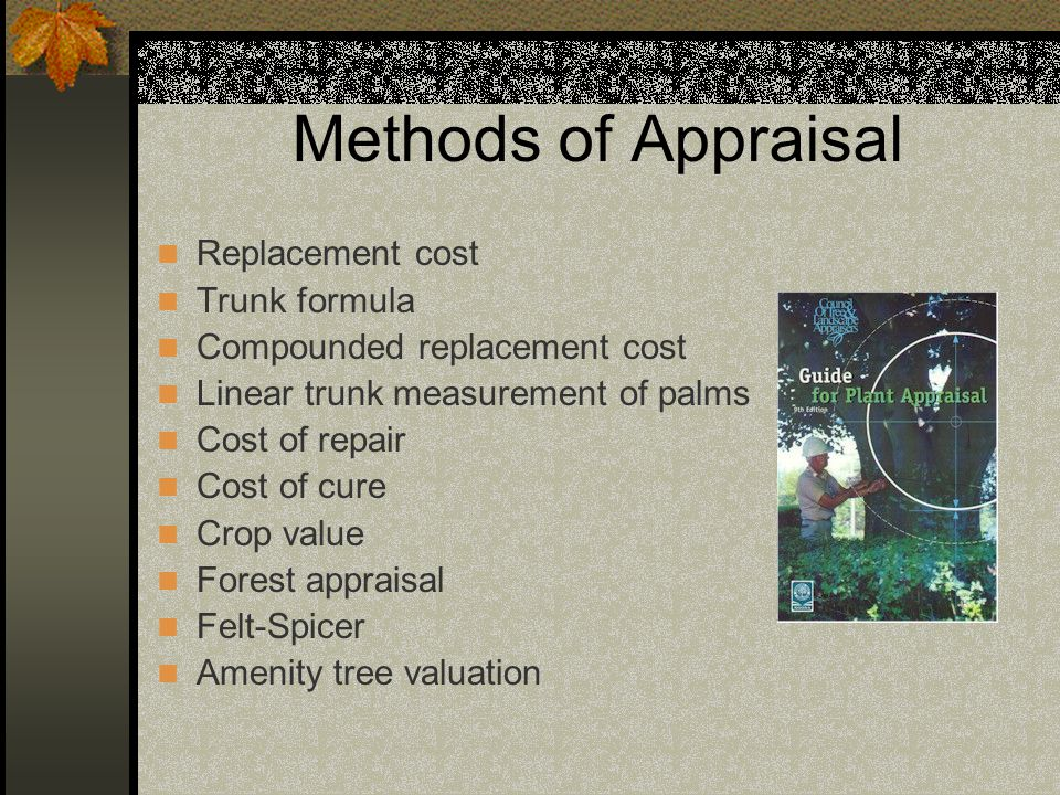 Methods of Appraisal Replacement cost Trunk formula Compounded replacement cost Linear trunk measurement of palms Cost of repair Cost of cure Crop val