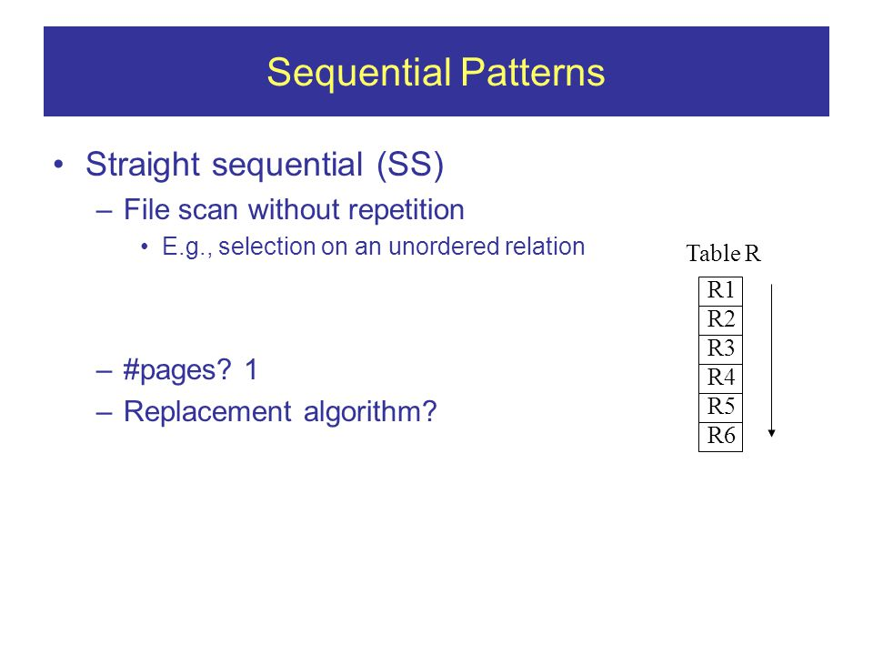 Sequential Patterns Straight sequential (SS) –File scan without repetition E.g., selection on an unordered relation –#pages.