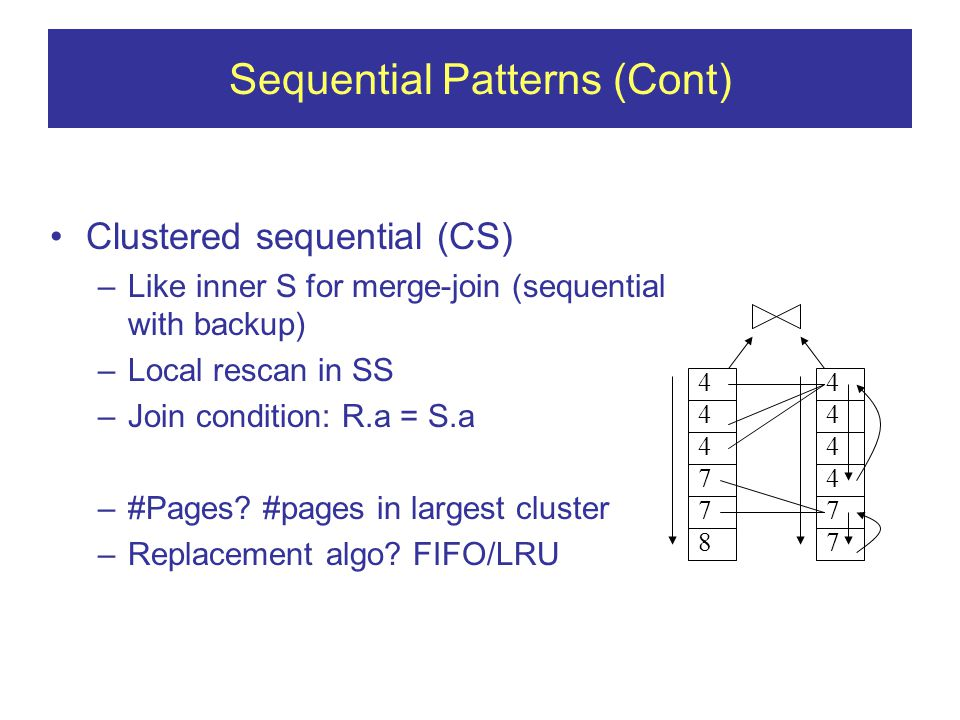 Sequential Patterns (Cont) Clustered sequential (CS) –Like inner S for merge-join (sequential with backup) –Local rescan in SS –Join condition: R.a = S.a –#Pages.