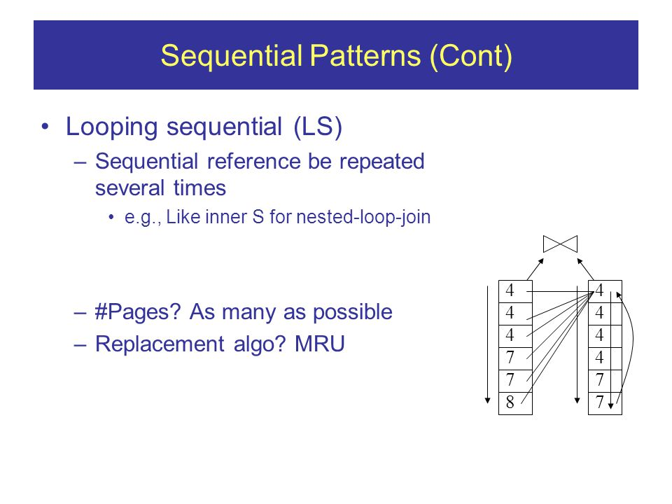 Sequential Patterns (Cont) Looping sequential (LS) –Sequential reference be repeated several times e.g., Like inner S for nested-loop-join –#Pages.