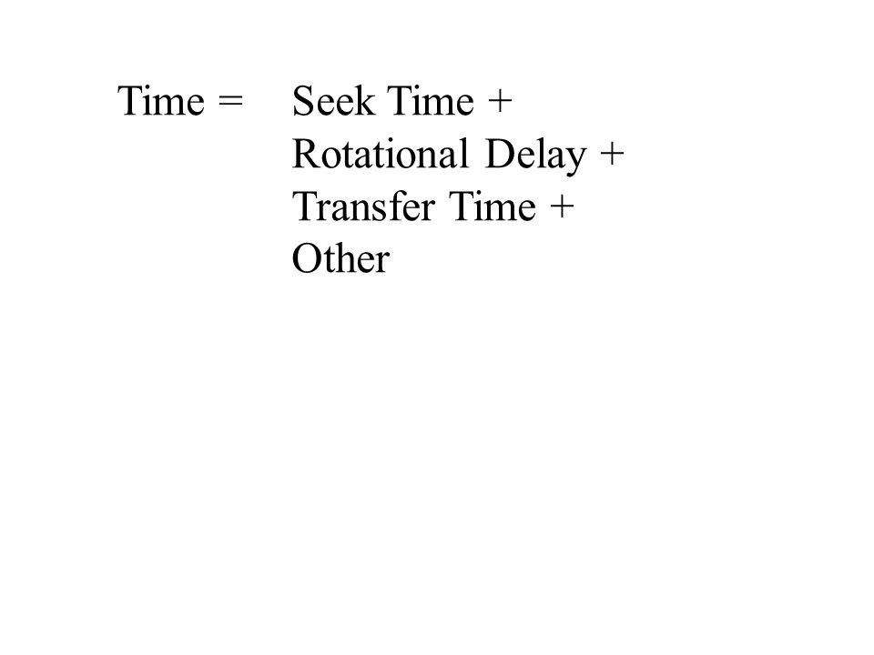 Time = Seek Time + Rotational Delay + Transfer Time + Other