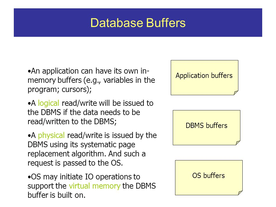Database Buffers Application buffers DBMS buffers OS buffers An application can have its own in- memory buffers (e.g., variables in the program; cursors); A logical read/write will be issued to the DBMS if the data needs to be read/written to the DBMS; A physical read/write is issued by the DBMS using its systematic page replacement algorithm.