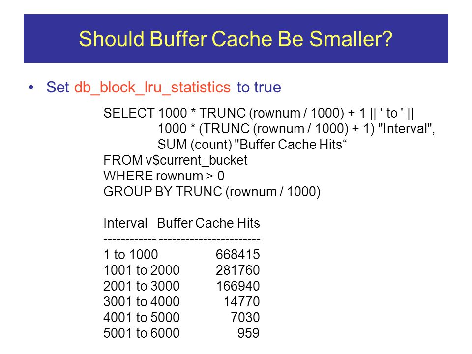 Should Buffer Cache Be Smaller.