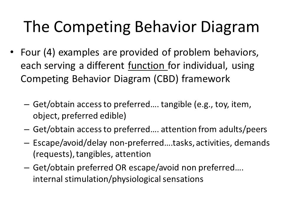 The Competing Behavior Diagram Four (4) examples are provided of problem behaviors, each serving a different function for individual, using Competing Behavior Diagram (CBD) framework – Get/obtain access to preferred….