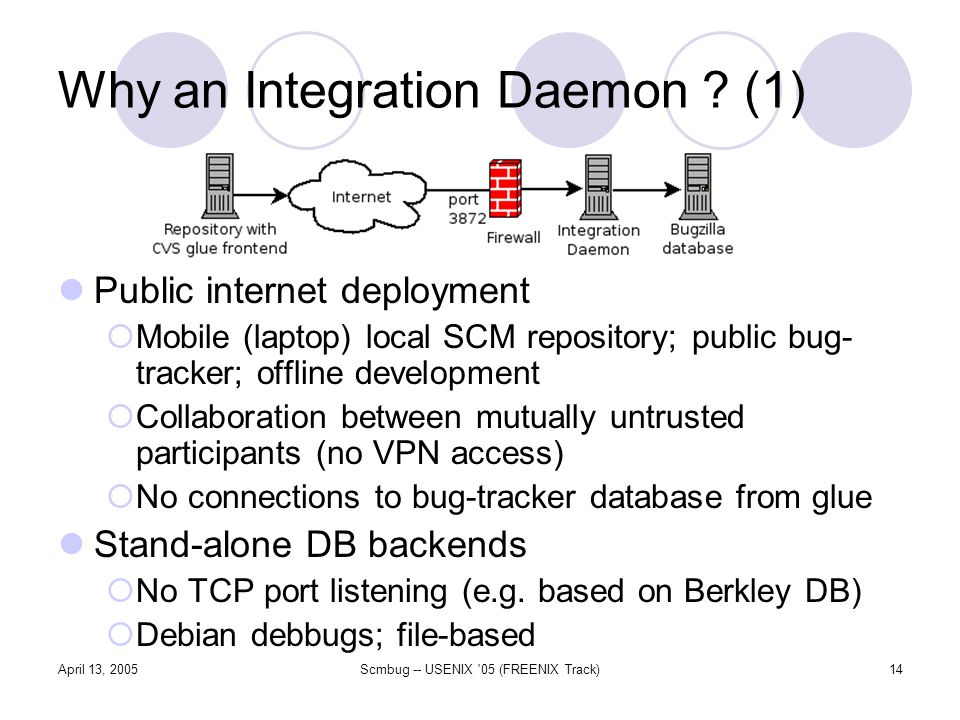 April 13, 2005Scmbug -- USENIX 05 (FREENIX Track)14 Why an Integration Daemon .
