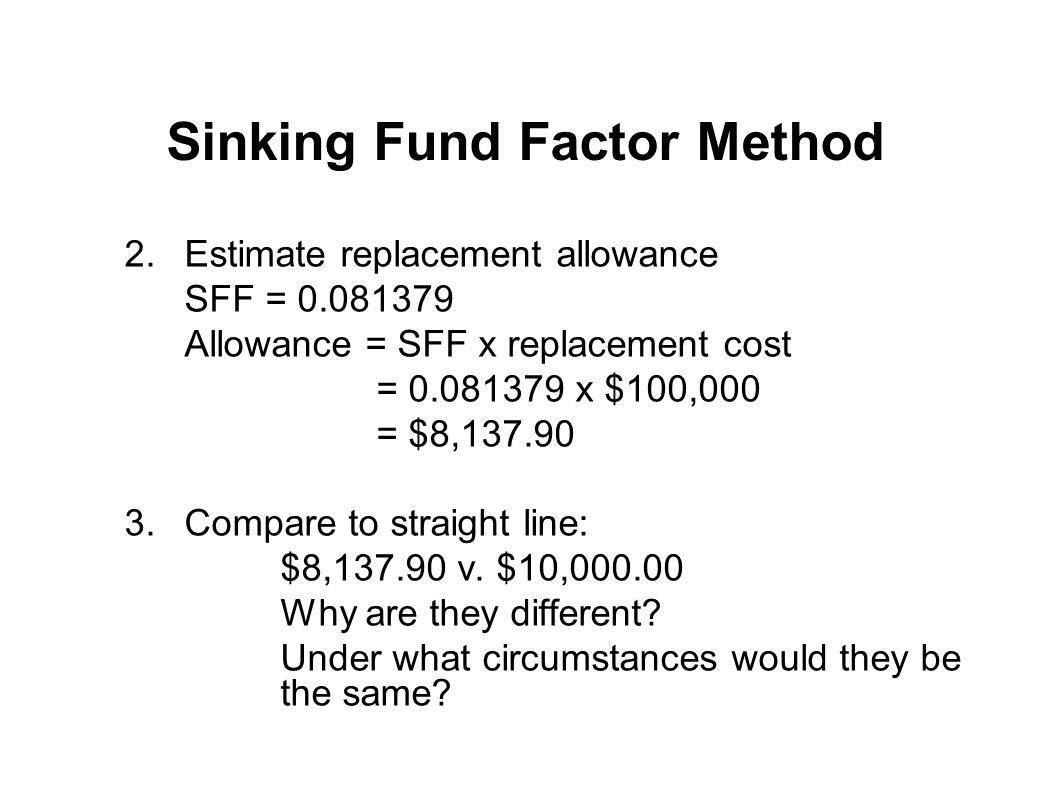 Sinking Fund Factor Method 2.Estimate replacement allowance SFF = 0.081379 Allowance = SFF x replacement cost = 0.081379 x $100,000 = $8,137.90 3.Comp