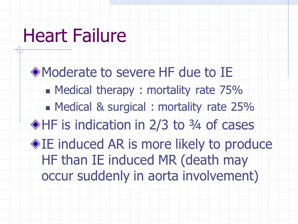 Heart Failure Moderate to severe HF due to IE Medical therapy : mortality rate 75% Medical & surgical : mortality rate 25% HF is indication in 2/3 to