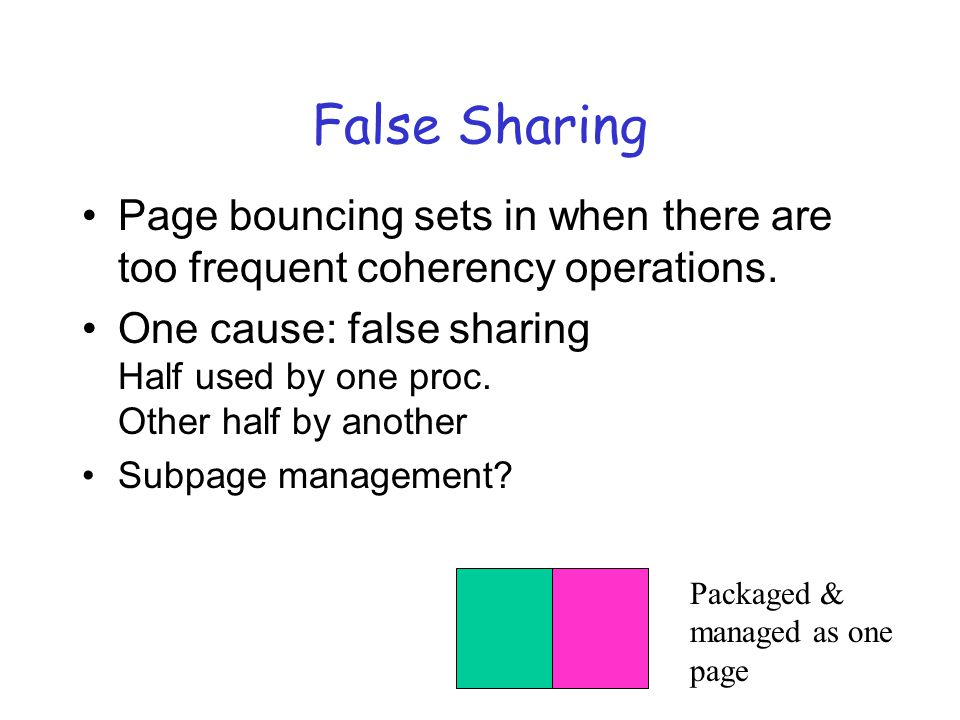False Sharing Page bouncing sets in when there are too frequent coherency operations.