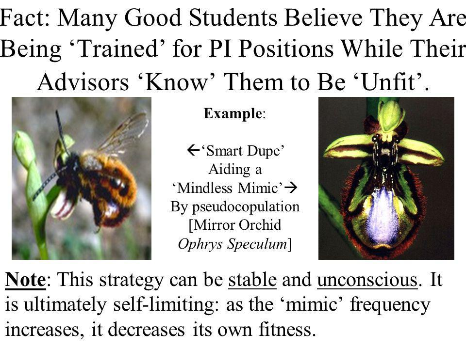 Fact: Many Good Students Believe They Are Being Trained for PI Positions While Their Advisors Know Them to Be Unfit.