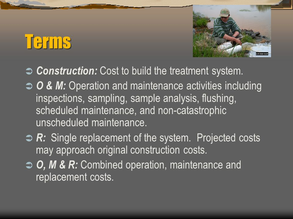Terms Construction: Cost to build the treatment system.