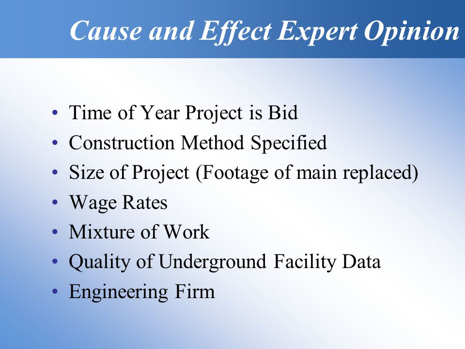 Time of Year Project is Bid Construction Method Specified Size of Project (Footage of main replaced) Wage Rates Mixture of Work Quality of Underground Facility Data Engineering Firm Cause and Effect Expert Opinion