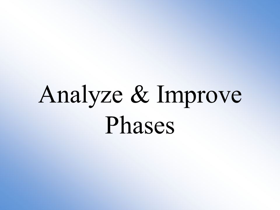 Analyze & Improve Phases