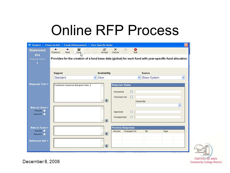 December 8, 2006 Online RFP Process