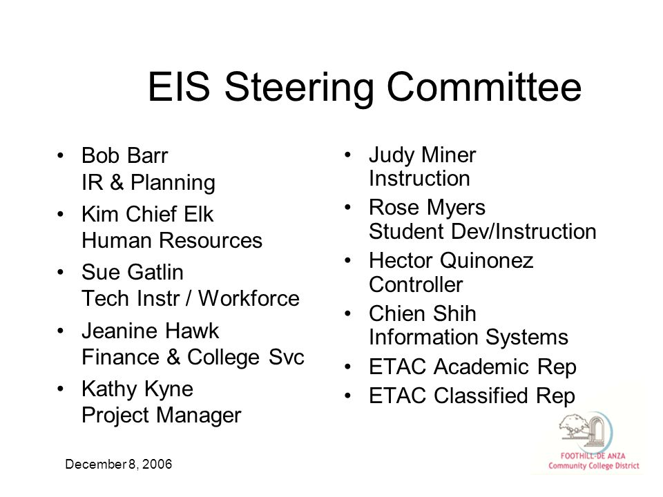 December 8, 2006 EIS Steering Committee Bob Barr IR & Planning Kim Chief Elk Human Resources Sue Gatlin Tech Instr / Workforce Jeanine Hawk Finance & College Svc Kathy Kyne Project Manager Judy Miner Instruction Rose Myers Student Dev/Instruction Hector Quinonez Controller Chien Shih Information Systems ETAC Academic Rep ETAC Classified Rep