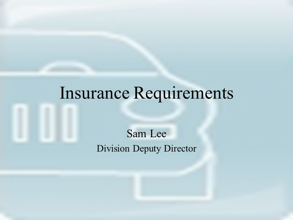 Insurance Requirements Sam Lee Division Deputy Director