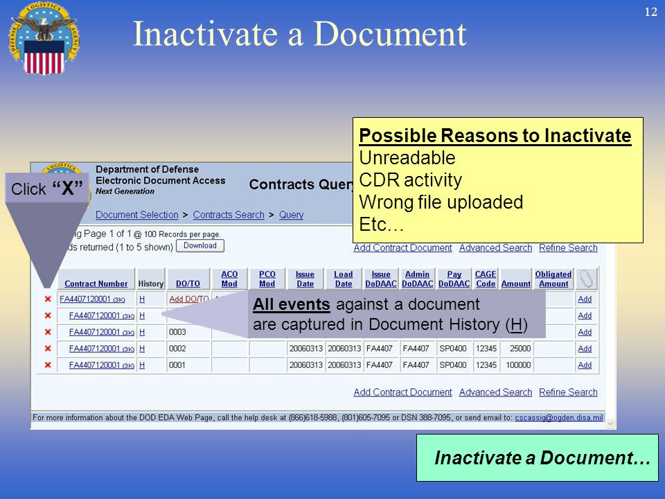 12 Inactivate a Document Inactivate a Document… Possible Reasons to Inactivate Unreadable CDR activity Wrong file uploaded Etc… All events against a document are captured in Document History (H) Click X