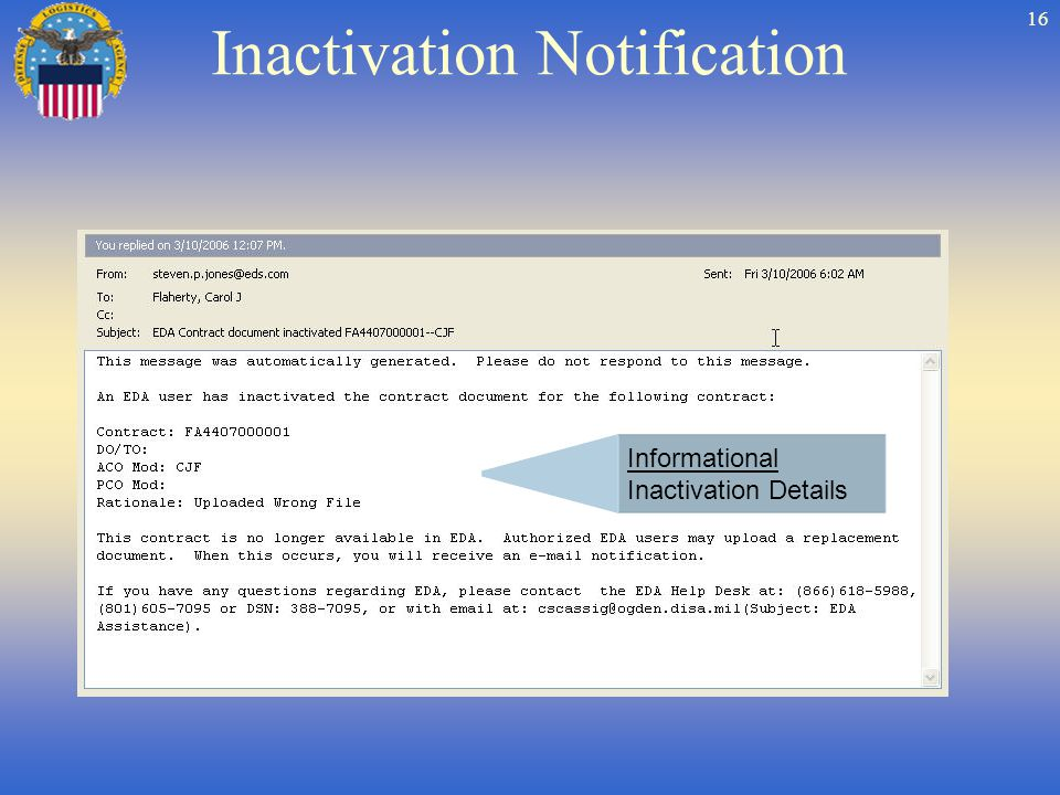 16 Inactivation Notification Informational Inactivation Details